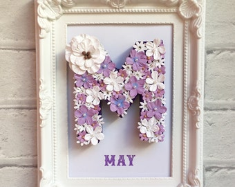 Step daughter gift, Gift from Stepmom, Mother Daughter gift, Granddaughter gift, Personalised name frame, Lilac gift, Unique framed gift