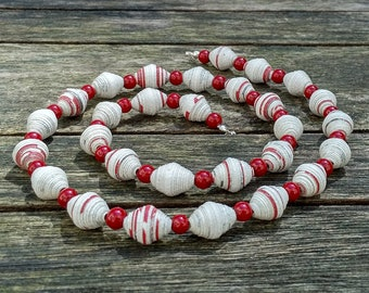 Handmade necklace with white - red - silver recycled paper and red glass beads