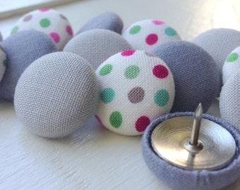 Small Gift,Gray,15 Push Pins,Pushpins,Thumbtacks,Thumb Tacks,Home Decor,Office Decor,Coworker Gift,Dot Push Pins,Teacher Gift,Organization