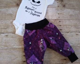 Custom Nightmare Before Christmas Onesie & Cuff Pants Set