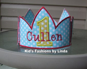 Aqua Yellow Red Applique Number Crown with Name