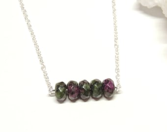 Ruby Zoisite Bar Necklace, Green Gemstone Necklace, Minimalist Bar Necklace, Energy Necklace, Boho Layering Necklace
