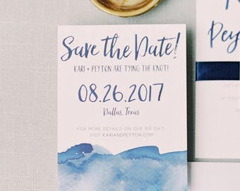 Watercolor Ombre Save The Dates / Navy, Blue, Aqua, Red, Sand, Pink / Brush Lettering / Semi-Custom Printed Save The Dates Cards or Magnets