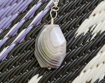 Unique Reversible Agate Silver Necklace