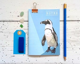 Penguin Notebook - A6 Notebook - Penguin - Small Notebook - Stocking Stuffer - Humbolt Penguin - Stocking Filler - Birthday Gift