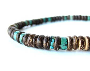 Men's jewelry - wooden necklace for men - Tribal Turquoise.