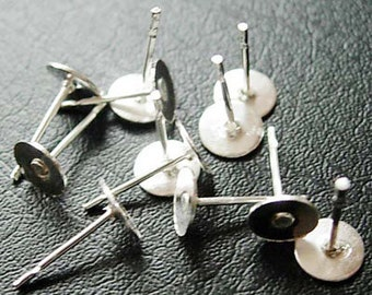 Silver EarStud 6mm, 10mm Earring Findings Flat Pad ,Stud Earring Posts, Stud Earring Blanks, DIY Jewelry Making Findings