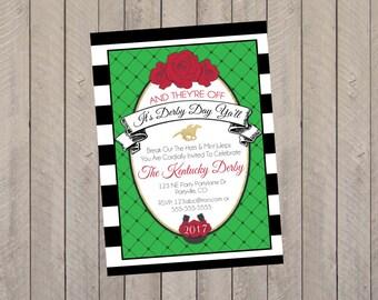 Kentucky Derby Invitation, Kentucky Derby Party, Kentucky Derby, Kentucky Derby Shower Invitation- Printed Invitations
