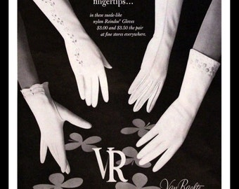 1962 Van Raalte Gloves Ad - White - Lacy - Embroidered - Cutout - Wall Art - Bed & Bath Decor - Retro Vintage Fashion Advertising