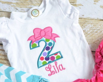 Girls (1st, 2nd, 3rd, 4th, 5th) Birthday Outfit in Pink and Turquoise, Girls Birthday shirt, Girls Birthday Shirt personalized