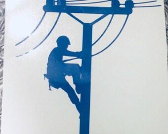 Lineman Power Company Decal Sticker