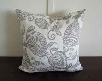 Gray Botanical Pillow Covers, 20x20, Grey and White Pillow Covers, Natural Bedding, Floral Pillow, Accent Pillow, Designer Pillows
