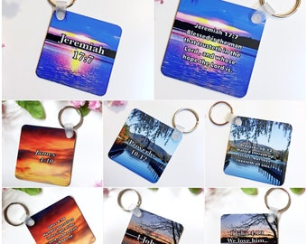 Personalized Bible Verse Keychain, Sublimated Keychains, Printed Bible Verse Keychain