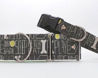 Dog's Life CANVAS Dog Collar (Martingale, Buckle or Tag)
