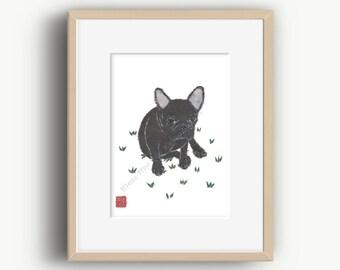 Black French Bulldog, French Bulldog Art, Frenchie, French Bulldog Print