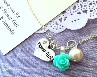 Rose, flowergirl, flower girl, child, necklace. Comes with personalized card and ORGANZA bag.