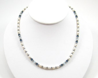 Blue Swarovski and Pearl Necklace (N86)