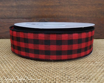 "Christmas Wired Ribbon, 1 1/2"", Red and Black Check Buffalo Plaid, TWENTY FIVE YARD Roll, ""Cabin Check"" Lumberjack Gingham Wire Edged Ribbon"