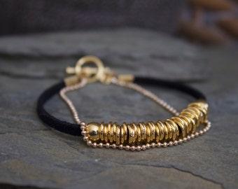 Gold bracelet, gold beaded bracelet, everyday gold bracelet, stacking bracelet, layering gold bracelet, black leather bracelet, minimalist