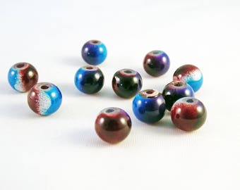 PDL102 - 5 beads in glass shades blue Brown cosmic patterns of Rare 8mm