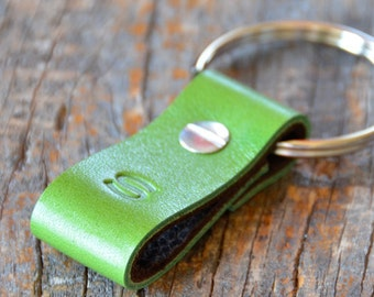 Monogrammed Spring Green and Brown Leather Keychain - Short & Wide Style