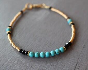 Turquoise Beaded Bracelet Boho Glam Bracelet, Gemstone Stacking Bracelet, Women's Bracelet, Seed Bead Bracelet, Bohemian Bracelet