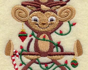 Christmas Monkeys Stack Embroidered Flour Sack Hand/Dish Towel