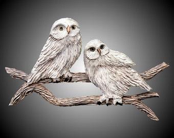 Twin Branch Snowy Owls Wall Sculpture