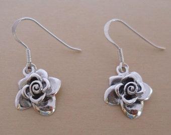925 Sterling Silver, Drop Dangling Rose Flower Earrings