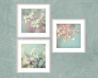 Cottage Chic Print Set, Three Photographs Set, Boho Art,  Pastel Wall Art, Pink Mint Flower Decor, Filipendula Tryptic