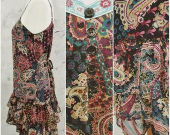 90's Vintage xhilaration Multi Colored Sun Dress Size Women Medium- Vintage 90's Sundress  - Vintage Sundress - Sheer Ruffled Autumn Colors