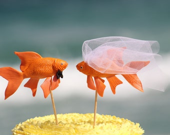 Fish Wedding Beach  Cake Topper - Goldfish Mr & Mrs- Beach Wedding