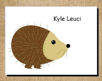 Set of Personalized Cute Porcupine Folded Note Cards - Thank You Cards - Blank Cards - Brown and Tan Porcupine Stationery