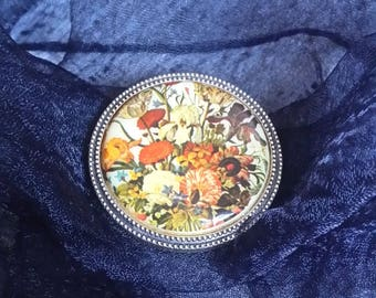 Gift for mom Round brooche For business lady Vintage brooch Floral scarf clip brooche Clip pin Round brooch Gift for her