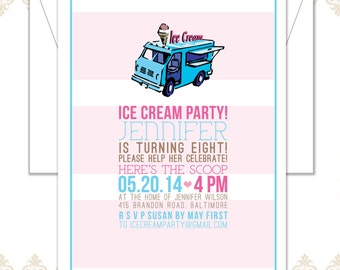 Ice Cream Truck Party Birthday Invitation - Ice Cream Party - Modern Ice Cream Birthday Party Invite - Vintage Ice Cream Truck Invite
