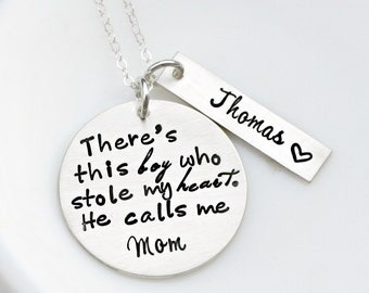 There's This Boy - Mothers Day Present Gift - Mother Son Necklace - Sterling Silver Necklace - Mommy Necklace