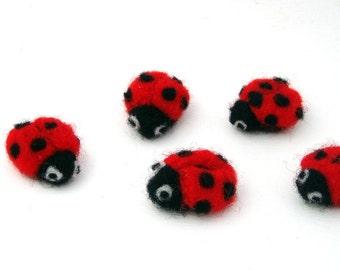 5 needle felted Ladybugs - ladybird - Lucky Ladybug applique - wool felt insects