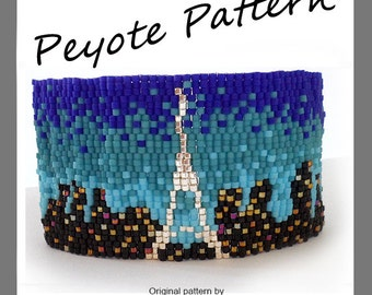 Paris Lovers Bracelet - For Personal Use Only PDF Peyote Pattern , Paris Peyote Bracelet, Eiffel Tower Peyote Beadwoven, skyline bracelet