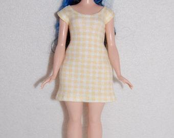 Yellow check Dress A4B110 Curvy Barbie fashionista fashion doll clothes READY To Ship