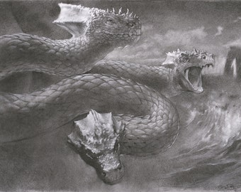 "Hydra - the mythical serpent from ancient Greek mythology - 8"" x 10"" art print of a charcoal drawing"