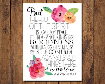 Bible Verse Printable, Scripture Print- Galatians 5:22 The fruit of the spirit
