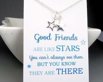 Best Friends Necklace - star necklace - message card - sterling silver - gift for friend - friends are like stars