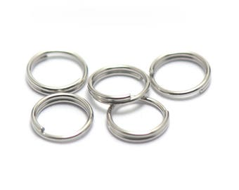 50 closed rings doubled, silver plated 7 mm