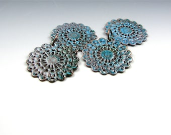 Enameled Round Filigree / Aqua Enamel / Made to order