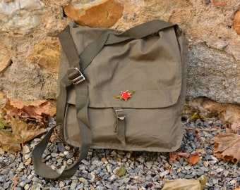 Canvas Crossbody Bag,Military Canvas Bag,Green Army Bag,Military Crossbody Bag,Unisex Canvas Bag,School Bag,Soviet Red Star Pin,Gift For Him