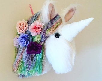 Super Fluffy faux fur Unicorn wall mount .... faux Taxidermy