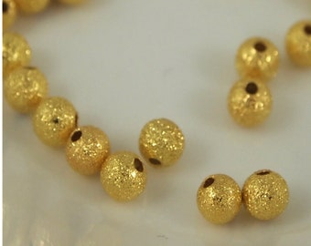 4mm round Stardust beads- Goldtone -Qty 50 (MW 4ST G)
