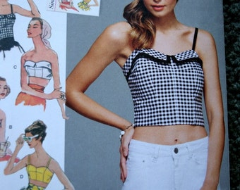 """Simplicity 8130 1950""""s Vintage Look Misses Tops and Cropped Tops in sizes 4-12 (uncut)"""