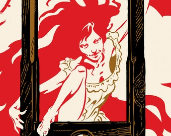French Revolution Print, Guillotine Print, Revolution Bastille Day Art, Girl Power - Giclee Print Large
