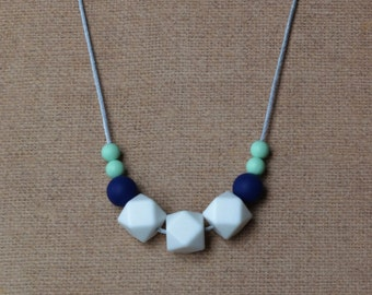 Nursing Necklace / Silicone Teething Necklace/ White Navy and Mint / Chew Beads / Hexagon and Round
